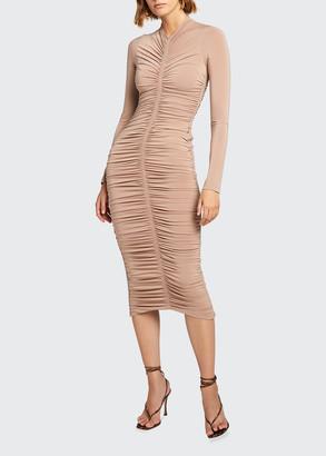 A.L.C. Ansel Ruched Long-Sleeve Midi Dress