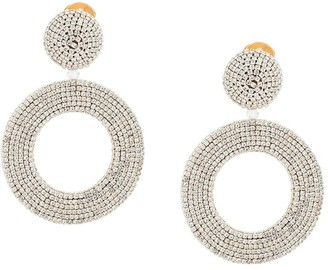 Oscar de la Renta Circle-Drop Crystal Earrings