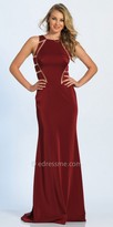 Dave and Johnny Illusion Linear Cutout Column Evening Dress