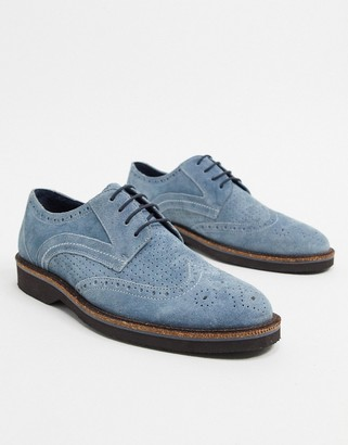 Silver Street suede brogue lace up in blue