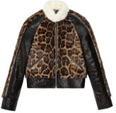 Gucci Leather jacket with leopard print fur