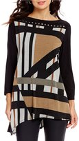 IC Collection Boat Neck Asymmetrical Studded Tunic