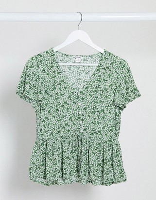 Monki Yrsa waisted printed blouse in green