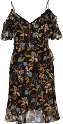 Nicholas Cold-shoulder Ruffled Printed Silk-chiffon Mini Dress