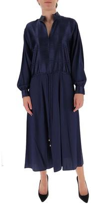 Tory Burch Striped Satin Drawstring Dress