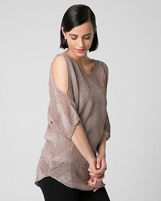 Le Château Metallic Knit Cold Shoulder Sweater