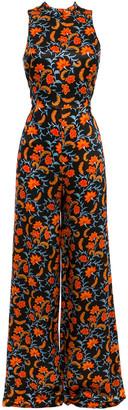 Seren London Lola Bow-embellished Printed Silk-satin Wide-leg Jumpsuit