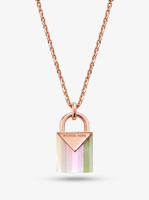 Michael Kors 14K Rose Gold-Plated Sterling Silver Lock Necklace