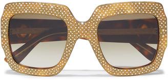 Gucci Oversized Square-frame Embellished Tortoiseshell Textured-acetate Sunglasses
