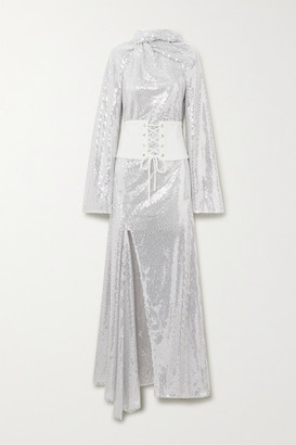 Ellery Fernando Belted Sequined Tulle Maxi Dress - Silver