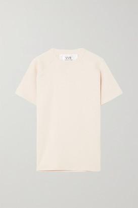 Victoria Victoria Beckham Ribbed Cotton-jersey T-shirt - Ecru