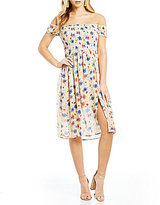 Sequin Hearts Smocked Bodice Floral-Print Midi Dress