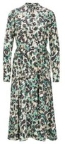 HUGO BOSS - Long Sleeved Dress In Floral Print Twill - Patterned
