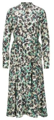 HUGO BOSS Long Sleeved Dress In Floral Print Twill - Patterned