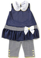 Bonnie Jean Little Girls 2T-6X Laser-Cut Bow Dress & Striped Leggings Set