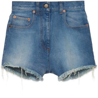 Gucci Washed denim shorts with cherry