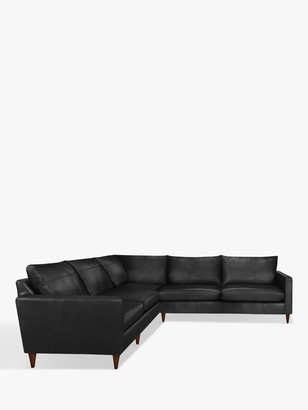 John Lewis & Partners Bailey 5+ Seater Leather Corner Sofa, Dark Leg