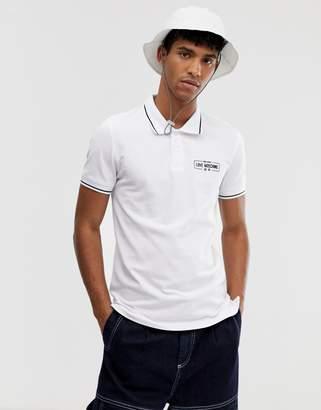 Love Moschino tipped polo shirt-White