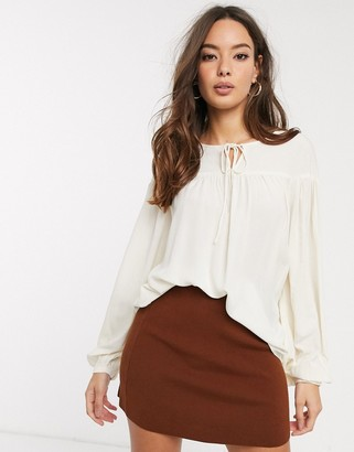 Vero Moda smock blouse with tie detail in cream