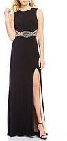 B. Darlin Beaded Cut-Out Infinity Waist Open-Back Long Dress
