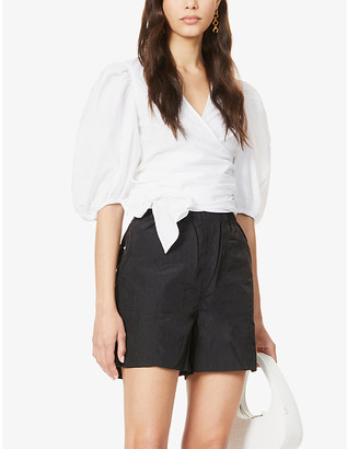 Ganni High-rise elasticated-waistband woven shorts