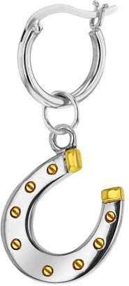 True Rocks 2 Tone Sterling Silver & 18Kt Gold Plated Mini Horse Shoe Charm on Sterling Silver Hoop Earing