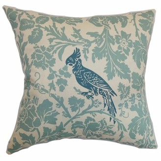 Alcott Hill Mandell Floral Cotton Throw Pillow Cover Color: Blue Natural