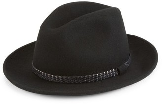 Saks Fifth Avenue COLLECTION Wool & Leather Braid Fedora
