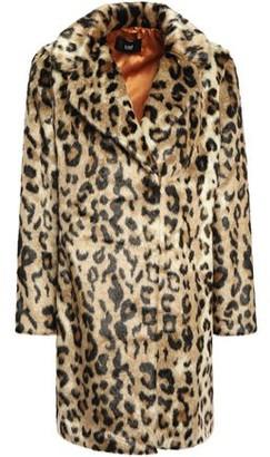 Line Leopard-print Faux Fur Coat