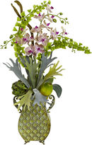 Asstd National Brand Nearly Natural Orchid & Bells of Ireland with Metal Vase