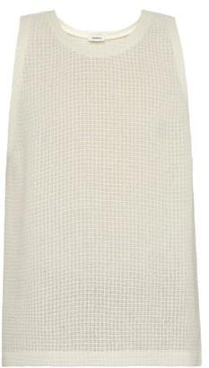 COMMAS Mesh Waffle-knit Linen Vest - Mens - White