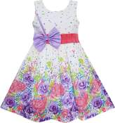 Sunny Fashion FA24 Girls Dress Bow Tie Floral Party Princess