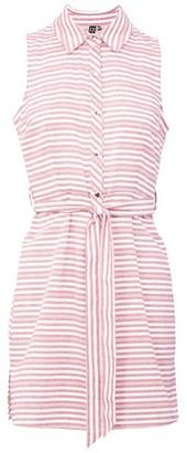 Dorothy Perkins Womens Izabel London Pink Striped Tie Waist Shirt Dress