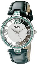 Burgi Women's BUR150GN Silver Quartz Watch with Swarovski Crystal Accents and See Thru Dial With Green Leather Strap