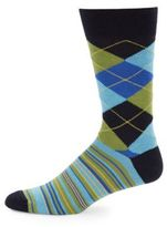Saks Fifth Avenue Checkered Cotton-Blend Socks