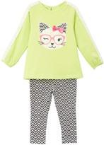 Kids Headquarters Light Lime Kitty Tunic & Leggings - Infant Toddler & Girls