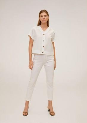 MANGO Tortoiseshell buttons shirt white - 2 - Women