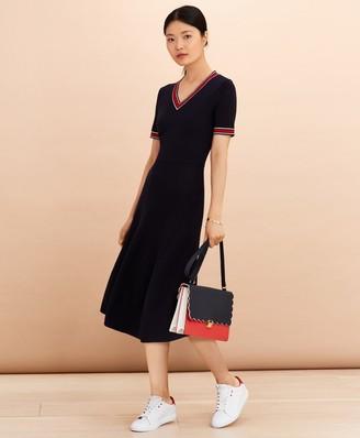 Brooks Brothers Stripe-Trimmed Midi Sweater Dress