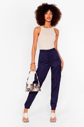 Nasty Gal Womens Cargo There High-Waisted Textured Pants - Navy