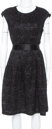 Carolina Herrera Black Sequin & Tinsel Accented Midi Dress L