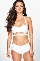 Boohoo Belize Strap Stitch Detail High Waist Crop Bikini