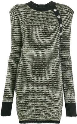 Balmain button embellished knitted dress