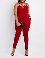Charlotte Russe Plus Size Strappy Caged Yoke Jumpsuit