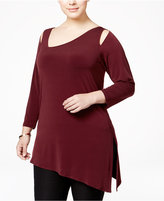Alfani Plus Size Cold-Shoulder Asymmetric Top, Only at Macy's