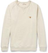 Maison Kitsuné Appliquéd Mélange Fleece-back Cotton-jersey Sweatshirt - Cream