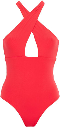 Onia Nicole Crossover Ribbed Swimsuit