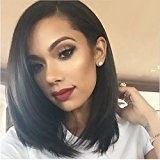 Vogue Queen 250% Density Straight Bob Wigs Short Nature Color Virgin Human Hair Lace Front Bob Wigs for Black Women (14 inches, Bob,Straight)