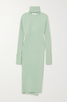 ANDERSSON BELL Daisy Cutout Ribbed-knit Turtleneck Tunic - Mint