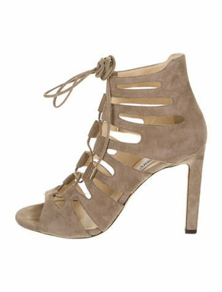 Jimmy Choo Suede Cutout Accent Gladiator Sandals