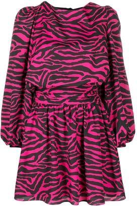 Gina Animal-Stripe Balloon-Sleeve Dress